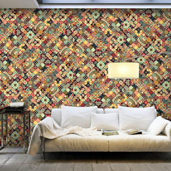 Фототапет за цяла стена като шарена мозайка