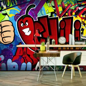 Фототапет за цяла стена с графити Чили
