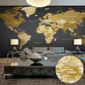 Фототапет XXL със съвременна карта на света на сив фон