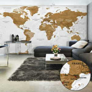 Фототапет XXL карта на света в бяло и кафяво