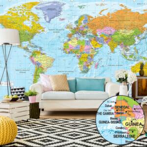 Фототапет за цяла стена с цветна карта на света