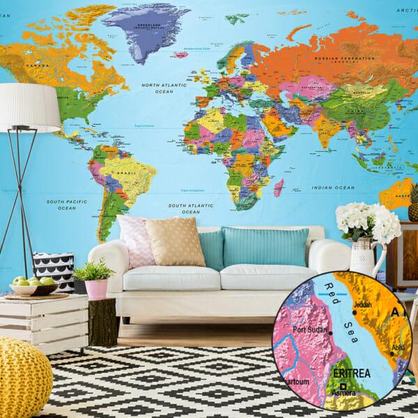 Фототапет за цяла стена с политическа карта на света