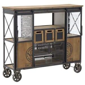 Бар количка с 5 рафта и 6 чекмеджета в индустриален стил