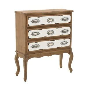 Дървен скрин с романтична визия и декоративни елементи-изглед 1