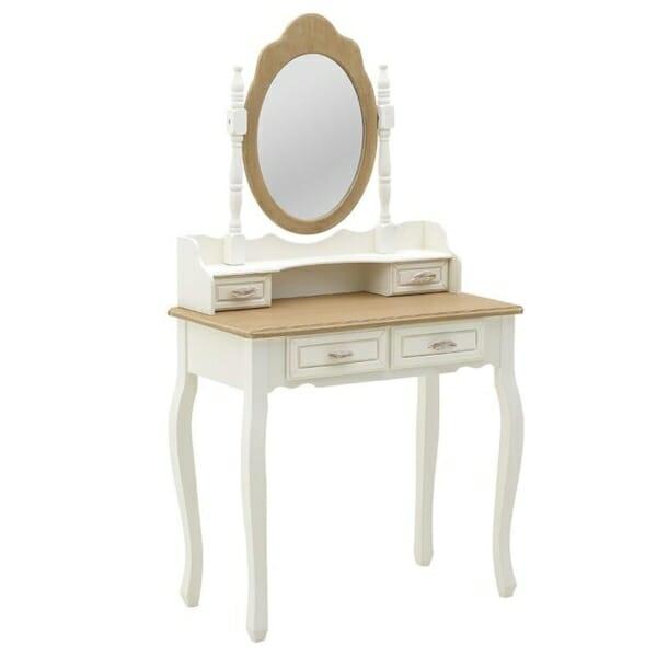 Дървена тоалетка с овално огледало и романтична визия Patris