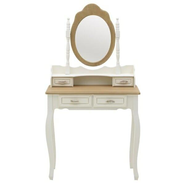 Дървена тоалетка с овално огледало и романтична визия Patris - изглед отпред