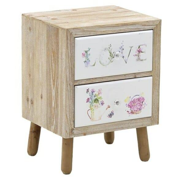 Дървено нощно шкафче с 2 изрисувани чекмеджета Love