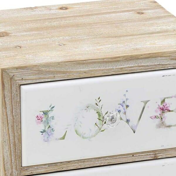 Дървено нощно шкафче с 2 изрисувани чекмеджета Love - детайл
