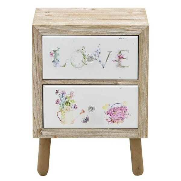 Дървено нощно шкафче с 2 изрисувани чекмеджета Love - изглед отпред