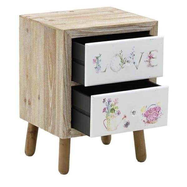 Дървено нощно шкафче с 2 изрисувани чекмеджета Love - разпределение