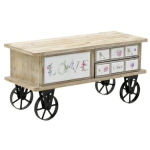 Нисък дървен шкаф с метални колела и 3 чекмеджета Love