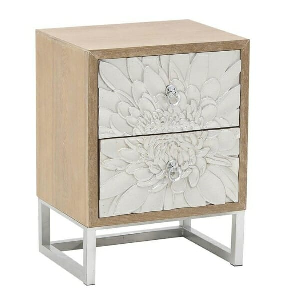 Нощно шкафче с 2 чекмеджета като сребристо цвете Silvero