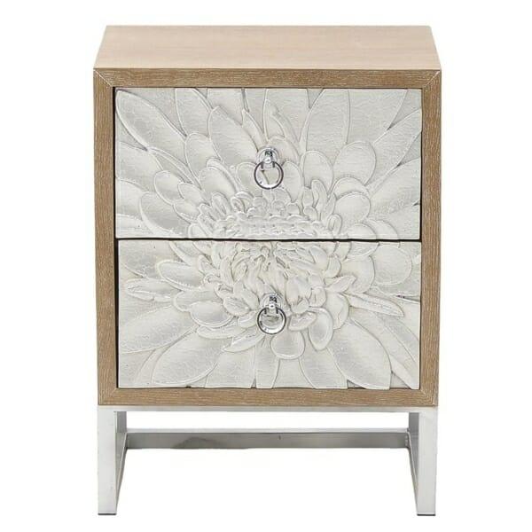 Нощно шкафче с 2 чекмеджета като сребристо цвете Silvero- изглед отпред