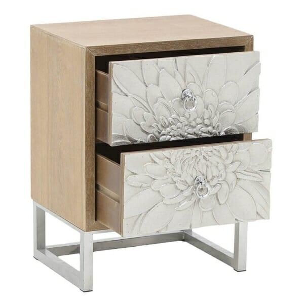 Нощно шкафче с 2 чекмеджета като сребристо цвете Silvero- разпределение