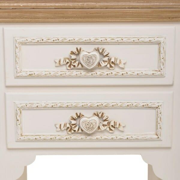 Нощно шкафче с 2 декорирани чекмеджета и рафт Heart - детайл декорация