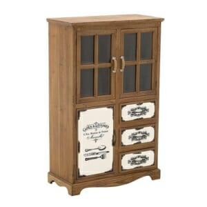 Винтидж шкаф с 3 декорирани чекмеджета и стъклени витрини