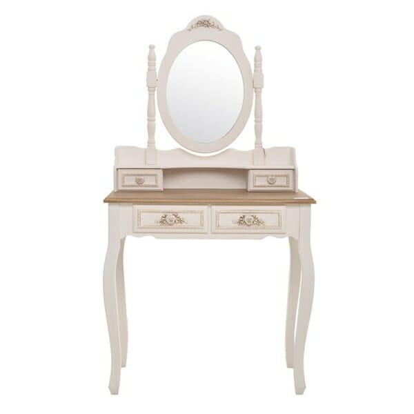 Винтидж тоалетка с овално огледало в бяло и бежово серия Heart - изглед отпред