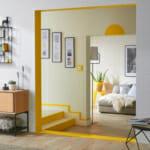 Визуално отделяне на общите пространства с боя за стена в жълт цвят