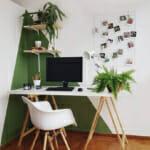 Работен ъгъл, с подчертани акценти в бяло и зелено