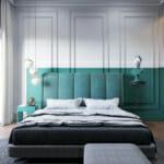 Спалня с ефектна стена в бяло и зелено