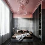 Спалня с нестандартна декорация с боя в розово и сиво