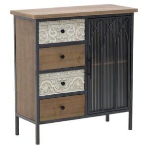 Дървен шкаф с 4 чекмеджета и тъмна вратичка серия Natal