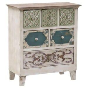 Дървен шкаф със състарена визия и 6 декорирани чекмеджета