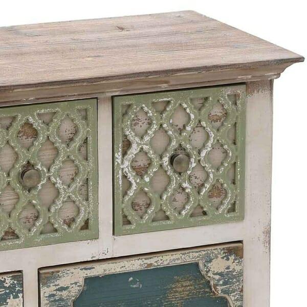 Дървен шкаф със състарена визия и 6 декорирани чекмеджета - детайл