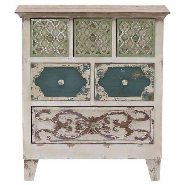 Дървен шкаф със състарена визия и 6 декорирани чекмеджета - изглед отпред