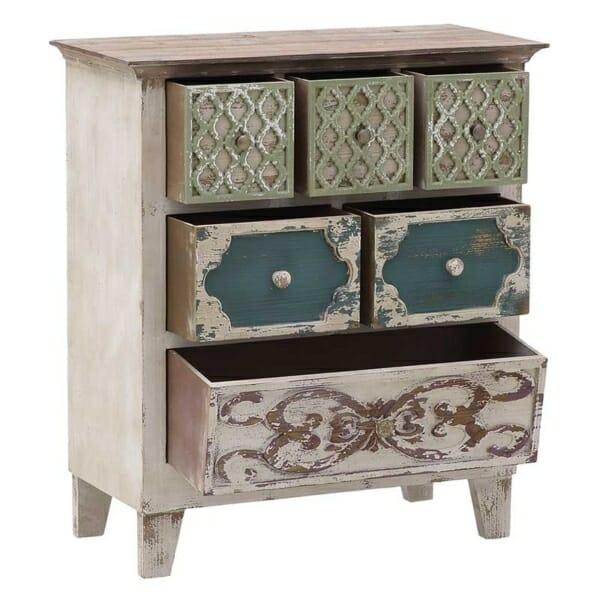 Дървен шкаф със състарена визия и 6 декорирани чекмеджета - разпределение