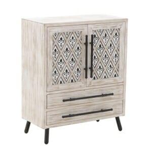 Дървен шкаф в състарено бяло с хералдическа лилия