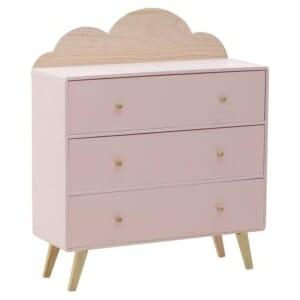 Дървен шкаф за детска стая с 3 чекмеджета и облаче - розов