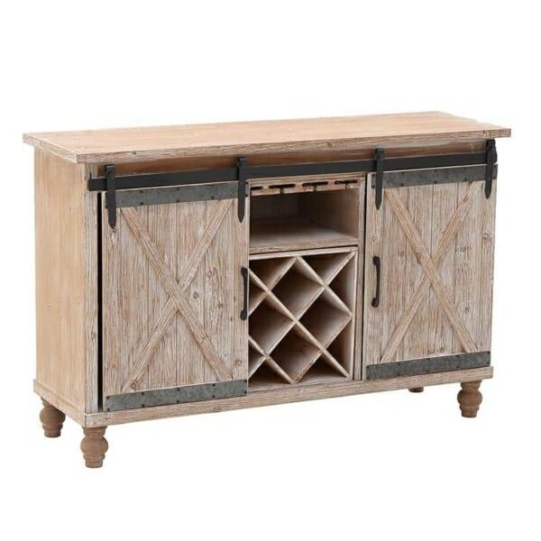 Дървен шкаф за вино с плъзгащи вратички във винтидж стил