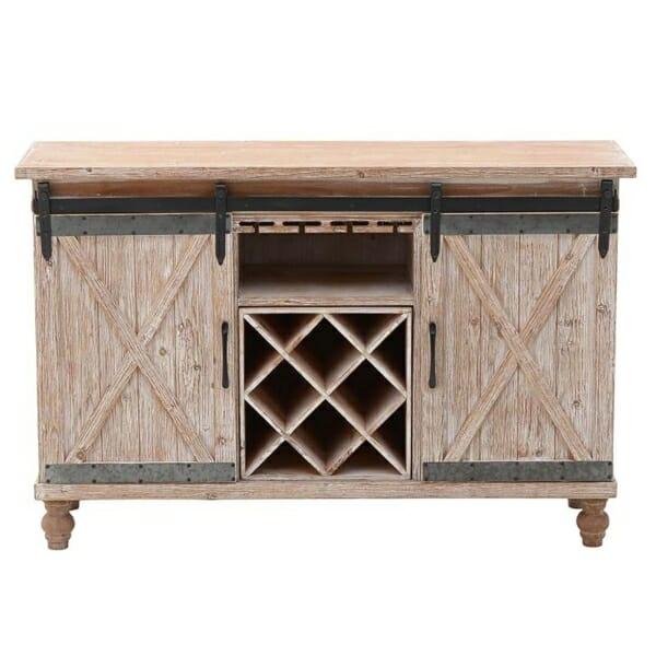 Дървен шкаф за вино с плъзгащи вратички във винтидж стил - изглед отпред