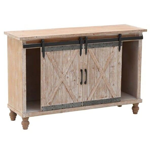 Дървен шкаф за вино с плъзгащи вратички във винтидж стил - разпределение