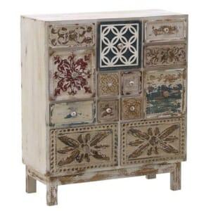 Дървен винтидж шкаф с 13 декорирани чекмеджета