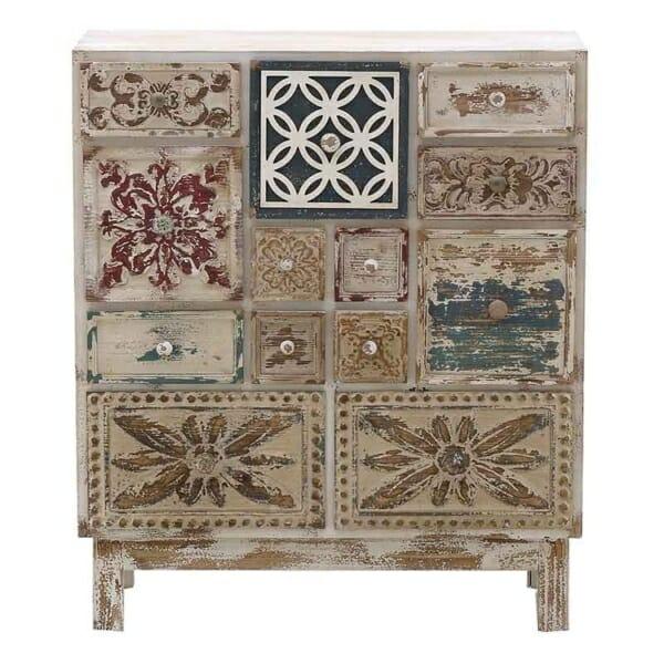 Дървен винтидж шкаф с 13 декорирани чекмеджета - изглед отпред