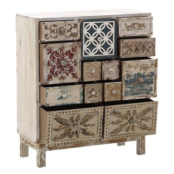 Дървен винтидж шкаф с 13 декорирани чекмеджета - разпределение
