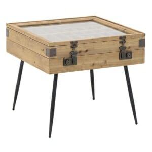 Дървена холна маса със стъклен плот и място за съхранение