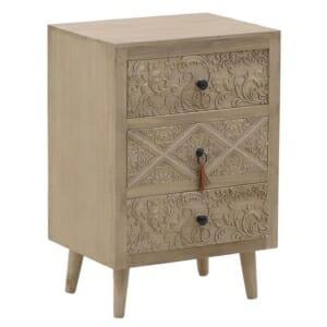 Дървено нощно шкафче с 3 декорирани чекмеджета серия Verona