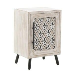 Дървено нощно шкафче в състарено бяло с хералдическа лилия