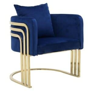Елегантно синьо плюшено кресло със златисти крака