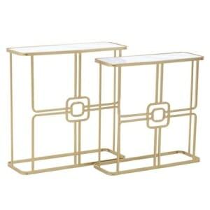 Комплект от 2 конзолни маси в златисто със стъклен плот