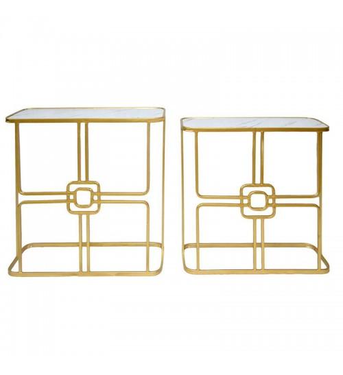 Комплект от 2 конзолни маси в златисто със стъклен плот - изглед отпред