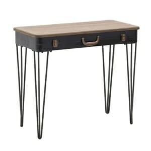 Конзолна маса с дървен плот като куфар и метални крака