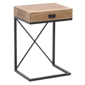 Помощна маса с дървено чекмедже в индустриален стил