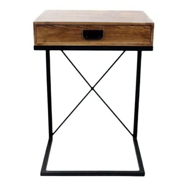 Помощна маса с дървено чекмедже в индустриален стил - изглед отпред