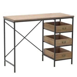Минималистично бюро от дърво и метал с 3 чекмеджета