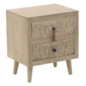 Ниско нощно шкафче от дърво с 2 декорирани чекмеджета Verona