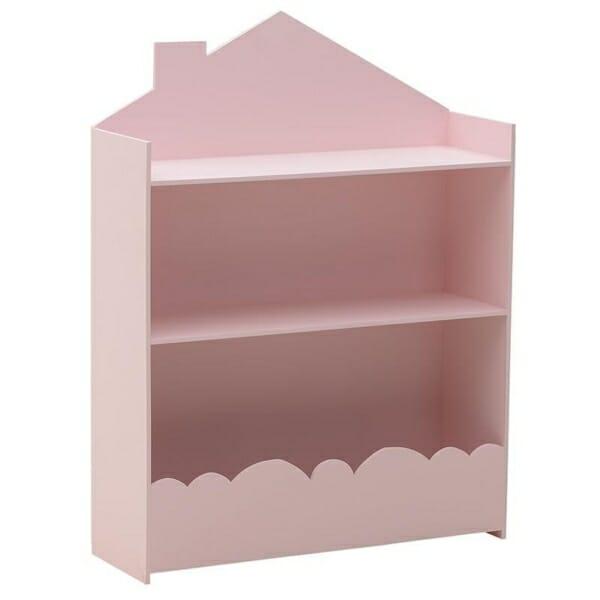 Стенна етажерка за детска стая като къща Cloud - розова